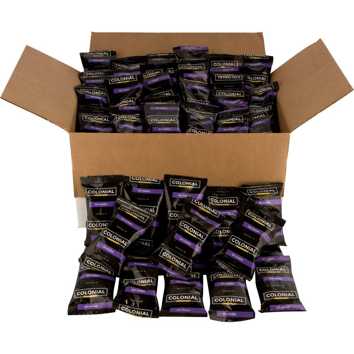 Colonial Coffee, 100% Colombian, Medium Roast Ground Coffee, 2.5 OZ Fraction Packs, 100 COUNT box, Bulk Bags