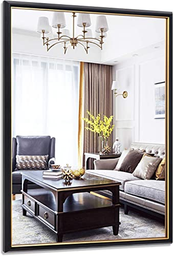 PexFix Hanging Wall Mirror, 32 x 40 Accented Framed Rectangle Mirror – Black Frame with Gold Edge