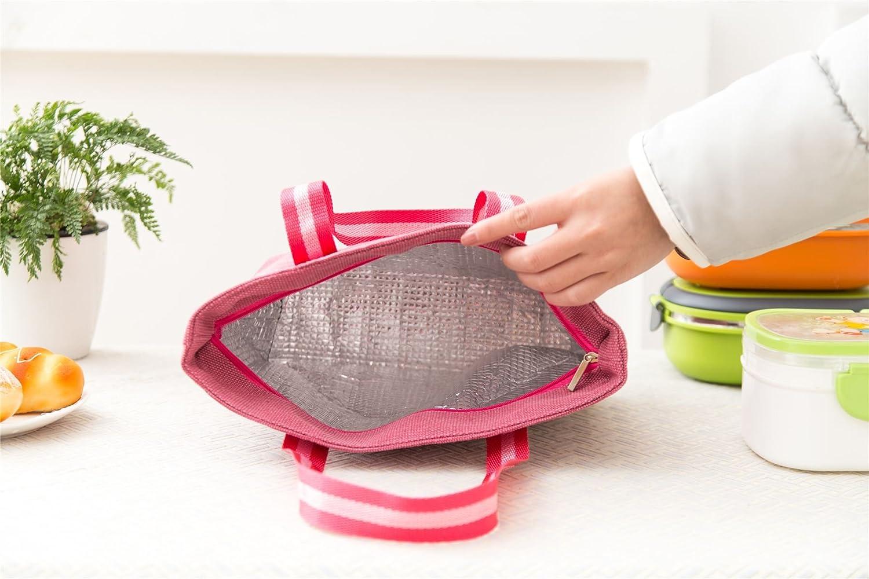 Alluminio disponibile in 4 colori VINSANI Borsa termica termica per il pranzo in tela Rosa
