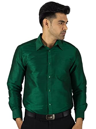 b98088b09c083 Khoday Williams Men s Poly Dupion Green Colour Full Hand s Shirt ...
