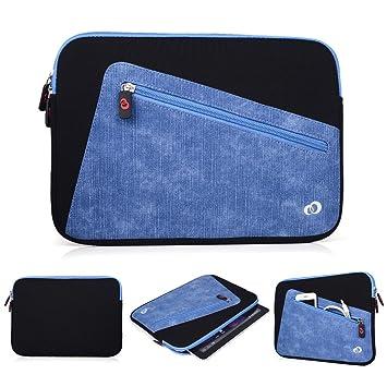 Kroo neopreno funda para tablet/funda para BQ Aquaris M10. Frontal con cremallera bolsa para necesidades de almacenamiento negro Black and Blue