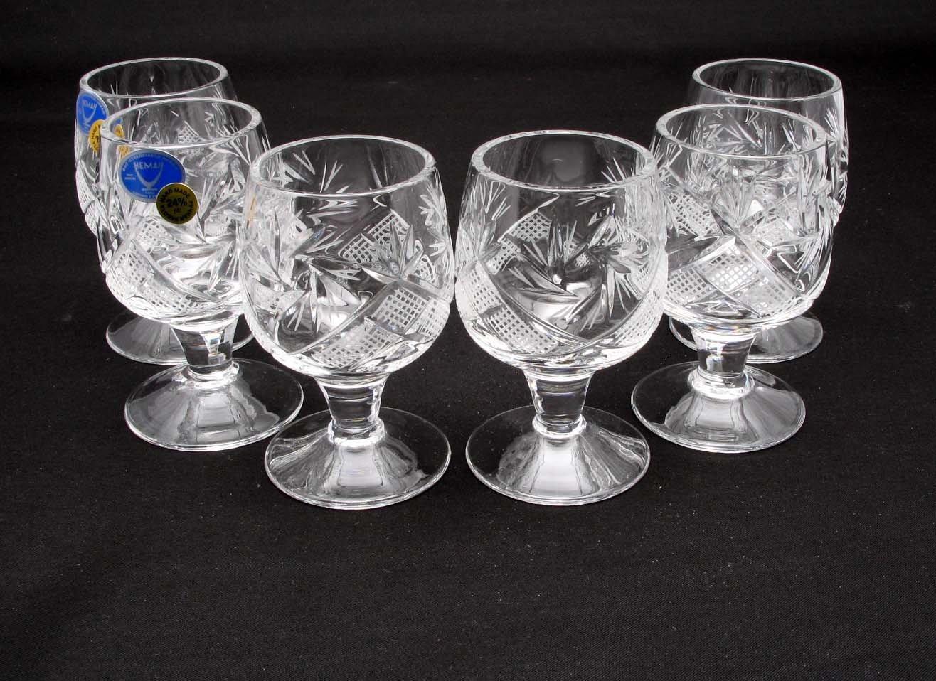 SET of 6 Russian CUT Crystal Shot Glasses on Short Stem 50ml Hand Made