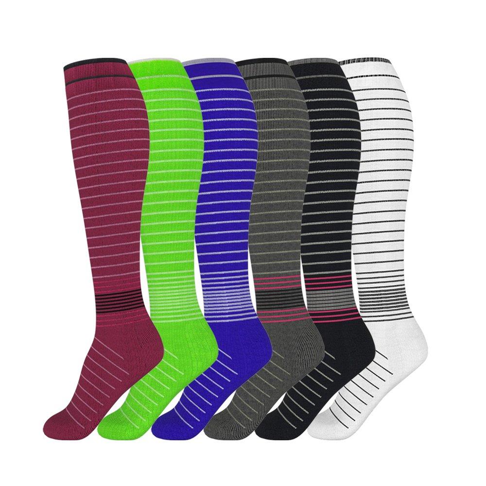 David accessories Compression Socks Unisex 6 Pairs 20-30 mmHg Medical Grade Stocking (6 Color, S/M)
