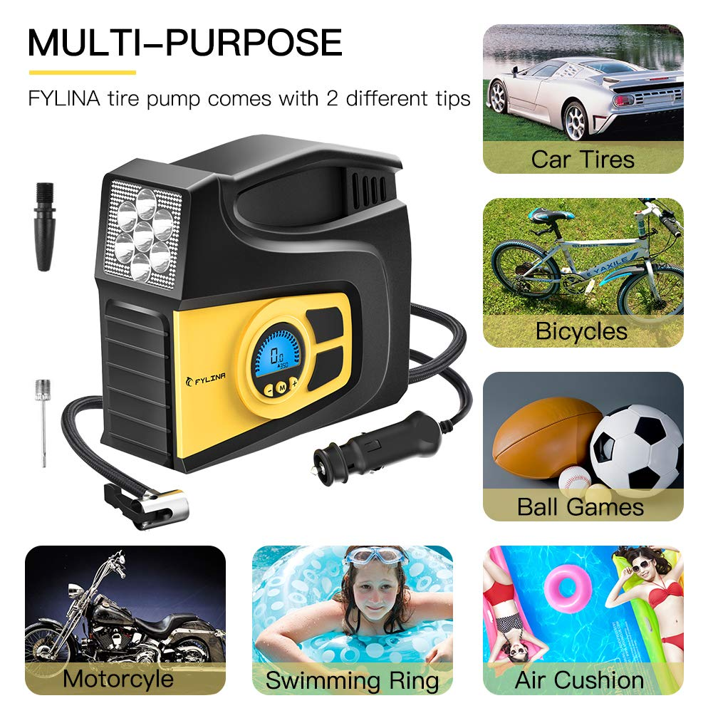 Extra Fuse and Progress Display Digital Tyre Inflator 2 Nozzle Adaptors Black FYLINA Preset Air Compressor Tyre Pump 3 Mode LED Light 12V 120W 120PSI Tyre Pump with Larger Air Flow 35L//Min