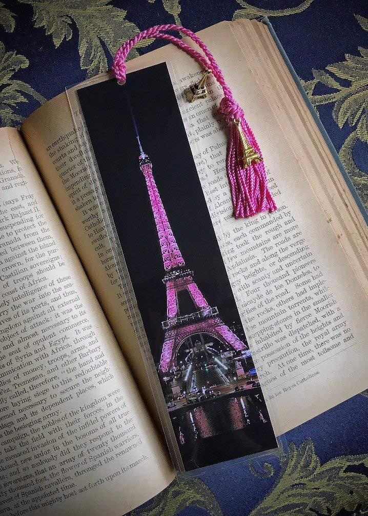 The Eiffel Tower in Pink Paris France at Night City Lights Bookmark w//Gold Tone Tower Charm Fine Art Photography Europe Photo Laminated Handmade Bookmark