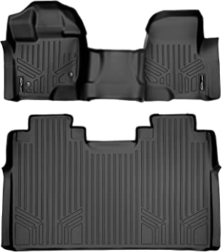SMARTLINER Custom Fit Floor Mats 2 Row Liner Set Grey for 2015-2019 Ford F-150 SuperCrew Cab with 1st Row Bucket Seats