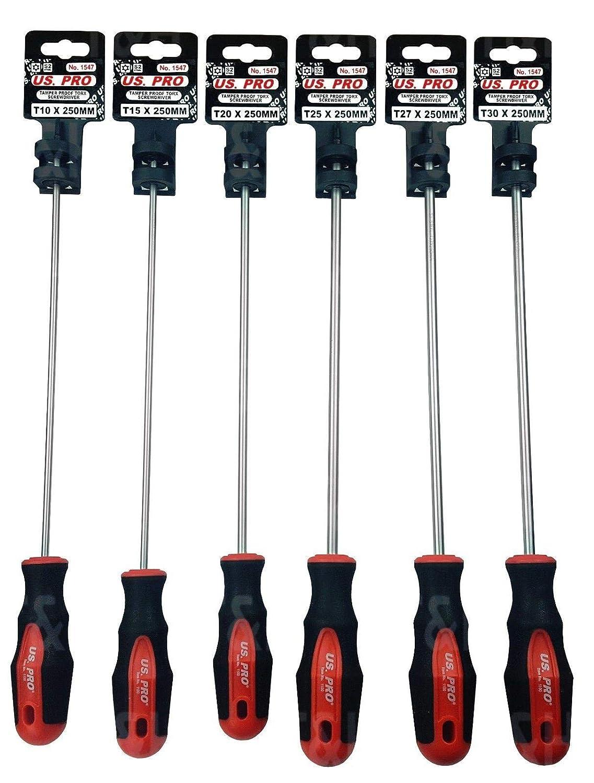 Screwdrivers Set 1547 US PRO Tools 6pc Extra Long Tamper Proof Torx Screwdriver