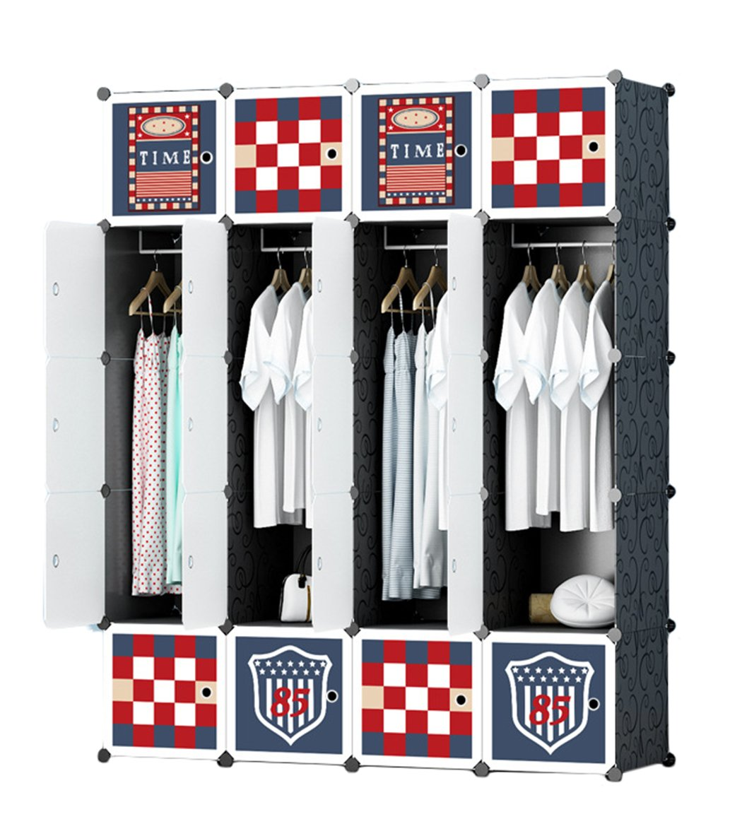 Salamaya Home DIY Portable armadio per appendere vestiti, intrecciati in plastica armadio armadietto modulare Armoire organizer Closet ripiano per spaziatura Save, scarpe, a cubo, ABS, 12 Cubes
