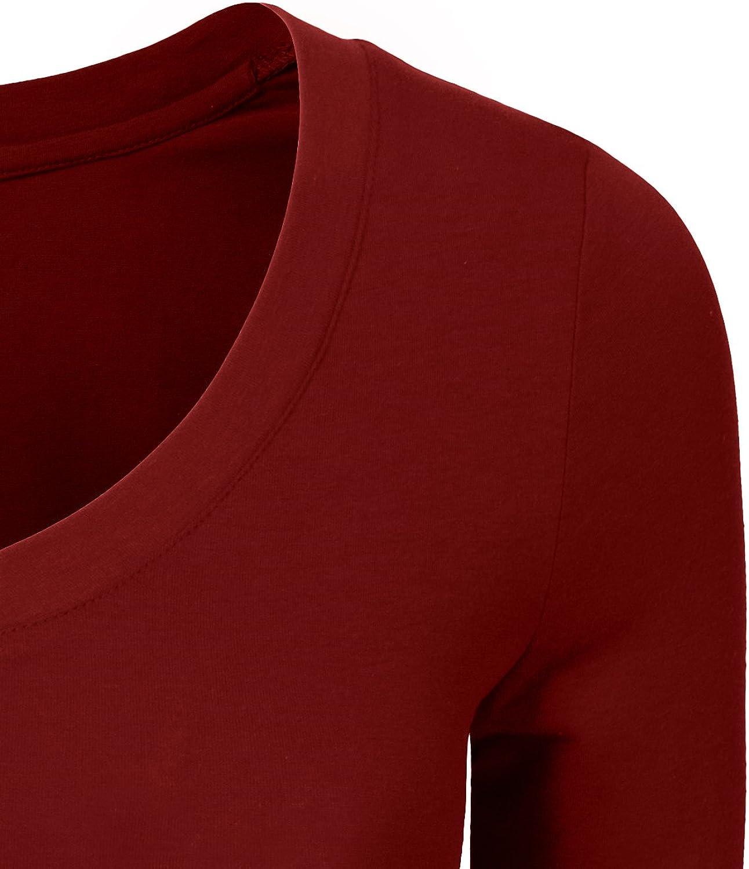 S-3XL NE PEOPLE Womens 3//4 Elbow Half Length Sleeve V-Neck line T-Shirt
