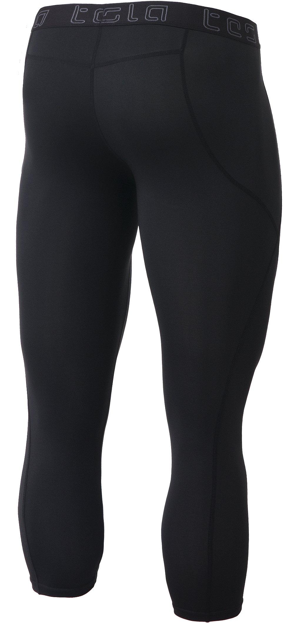 TM-MUC18-KLB_X-Small Tesla Men's Compression Capri Shorts Baselayer Cool Dry Sports Tights MUC18 by TSLA (Image #2)