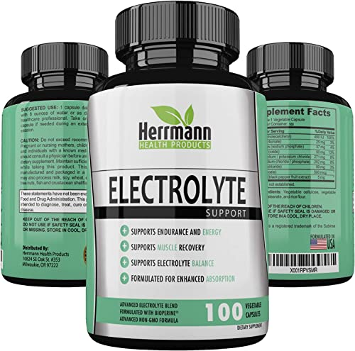 Quality Electrolyte Capsules Support for Rehydration Recovery Electrolyte Replacement Capsules Electrolyte Salts, Magnesium, Sodium, Potassium Non-GMO Formulated for Enhanced Absorption