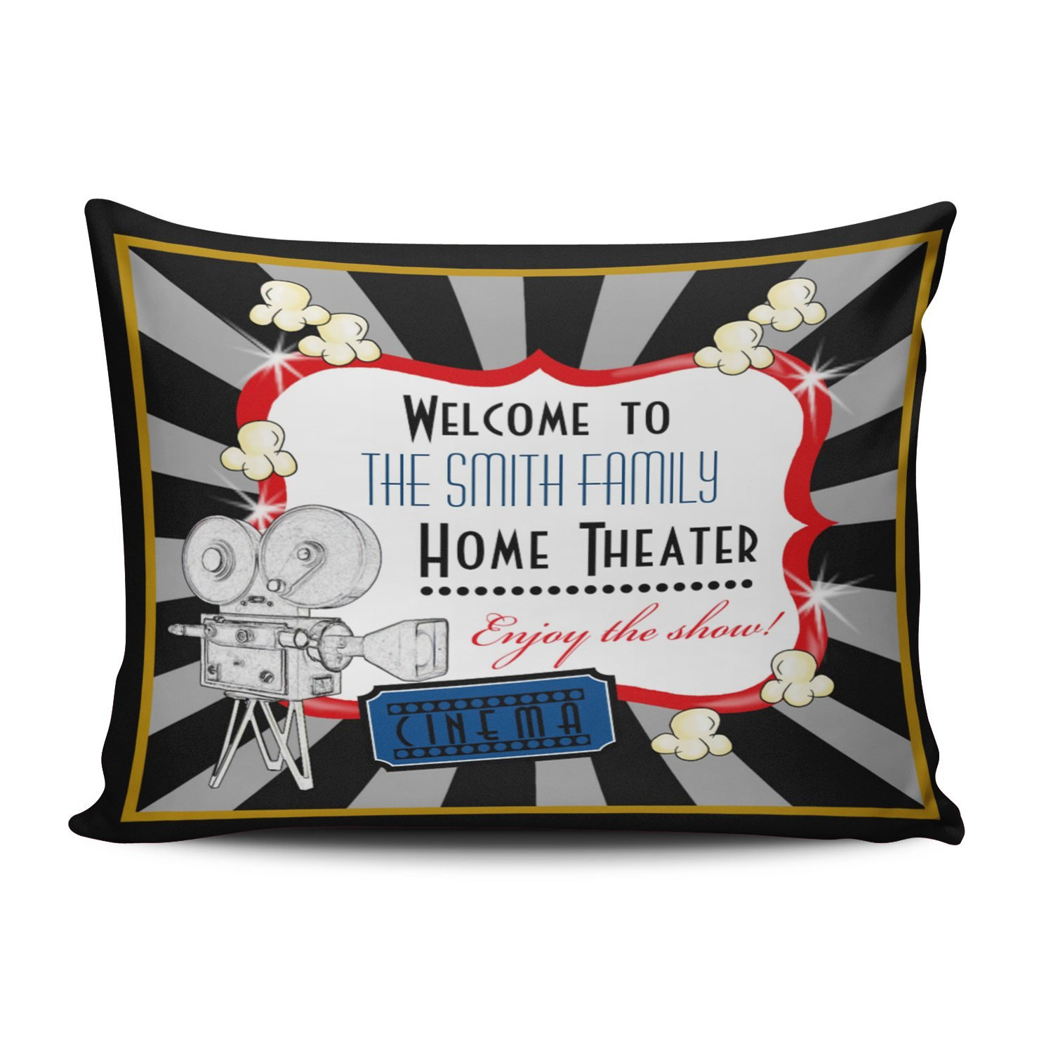 KEIBIKE Personalized Movie Theater Cinema Rectangle Decorative Pillowcases Unique Zippered Standard Pillow Covers Cases 20x26 Inches One Sided