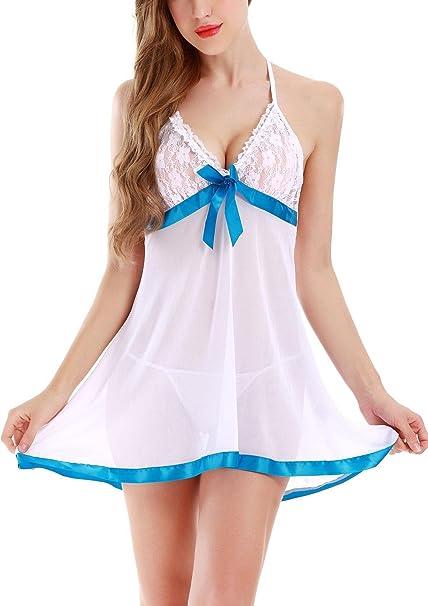 Adorneve V-cuello Pijama Babydoll del Cordón Conjuntos de Vestido y Tanga
