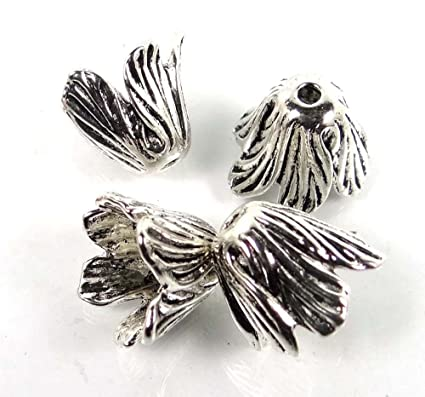 4 Large Antique Silver Pewter Tulip Flower End Caps Focal Pendant Beads 18x14mm