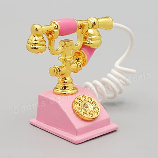 Odoria 1 12 Miniature Old Fashioned Pink Rotary Telephone Dollhouse