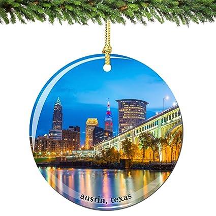 Amazon.com: Austin Christmas Ornament Porcelain 2.75 Inch Double ...