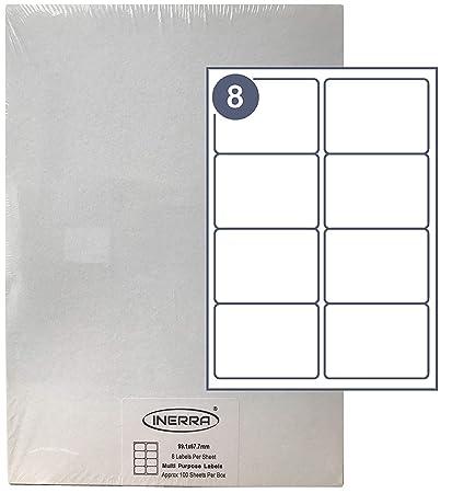Inerra Etiquetas Blanco - 8 por A4 Folio - Impresora Dirección Pegatinas - Blanco A4 Láminas Etiquetas Blanco, 500 Sheets