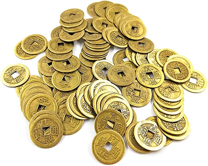101 DMIDEA 106 Pieces Chinese Fortune Coins Feng Shui I-Ching Good Luck Ancient Dynasty Time Coin Health and Wealth with Chinese Knot Tassel