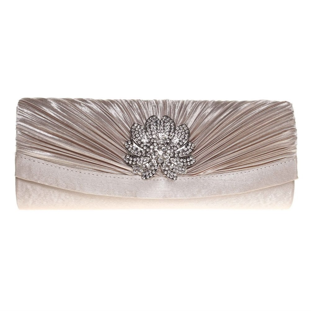 FASHIONROAD Evening Clutch, Womens 3D Floral Rhinestone Pleated Clutch Purses For Wedding & Party Apricot