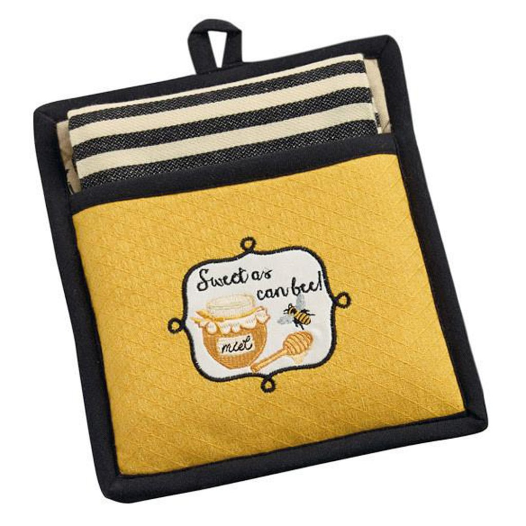 Design Imports Sweet as Can Bee! Potholder & Dishtowel Set