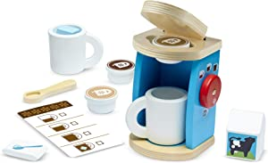 Melissa & Doug Brew & Serve Wooden Coffee Maker Set (12 Pieces, Frustration-Free Packaging, Great Gift for Girls and Boys - Best for 3, 4, 5, and 6 Year Olds)