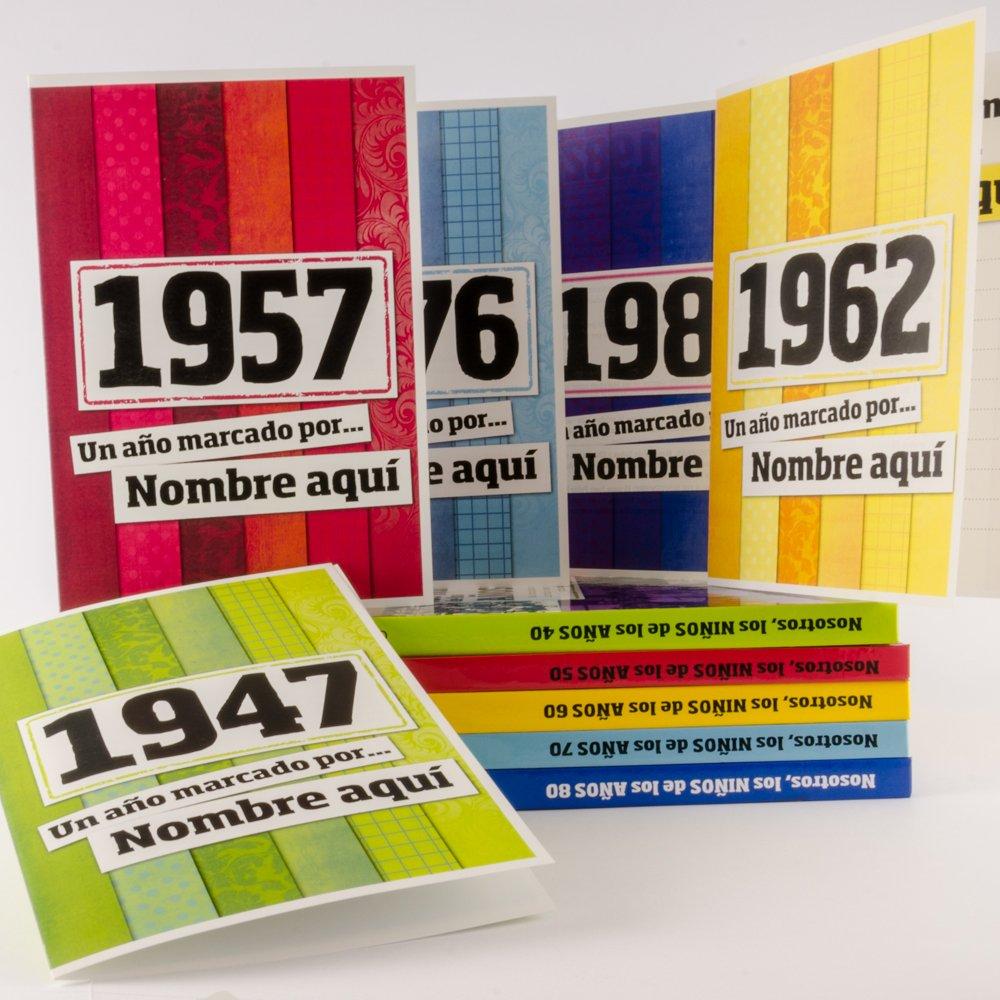 Libro de tu año de nacimiento, libro de la década de los 50 con tarjeta personalizada - Regalo para cumpleaños - Otras edades disponibles: Amazon.es: Hogar