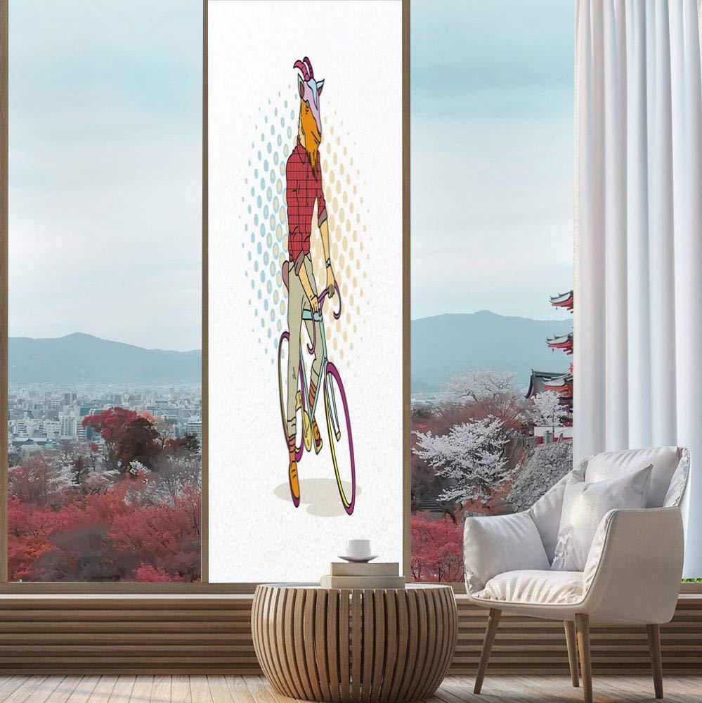YOLIYANA ビニールウィンドウフィルム レトロ バスルームに最適 手描き村 町の家 ピラミッド 24''x78'' YO_04_03_Q0404_063370 B07QCV5Z3G Multi 02 24''x78''