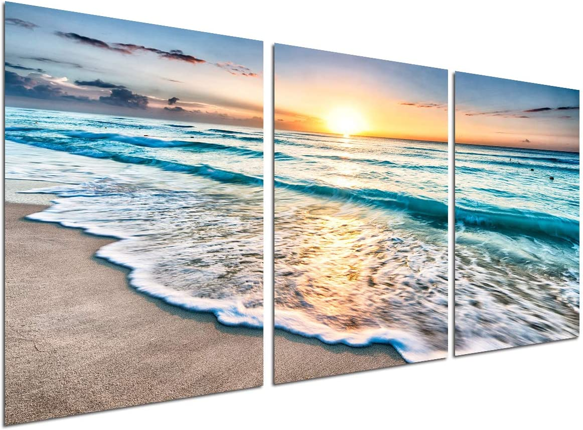 Beach Canvas print Wall Art - Sunset Ocean Waves Seascape decor/Modern Giclee Print painting for Bathroom/Living room/bedroom deoration / 3 pieces 12x16in Unframed pictures wall poster Artwork.