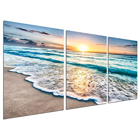 SUNSET COLOURFUL OCEAN WAVE SEASCAPE CANVAS PRINT WALL ART PICTURE