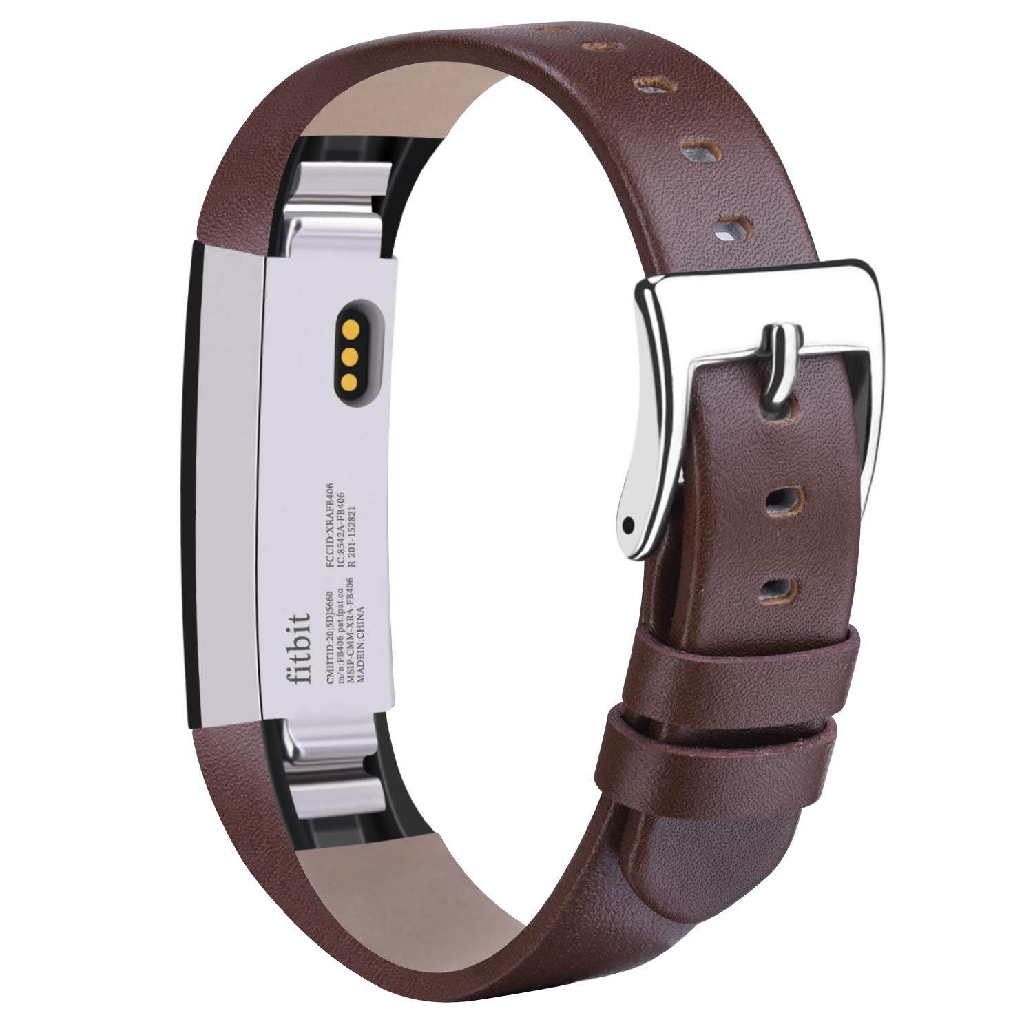 Vancle Compatible with for Fitbit Alta Bands Leather, Adjustable Replacement Accessories Fitbit Alta HR Bands for Women Men (3. Coffee)