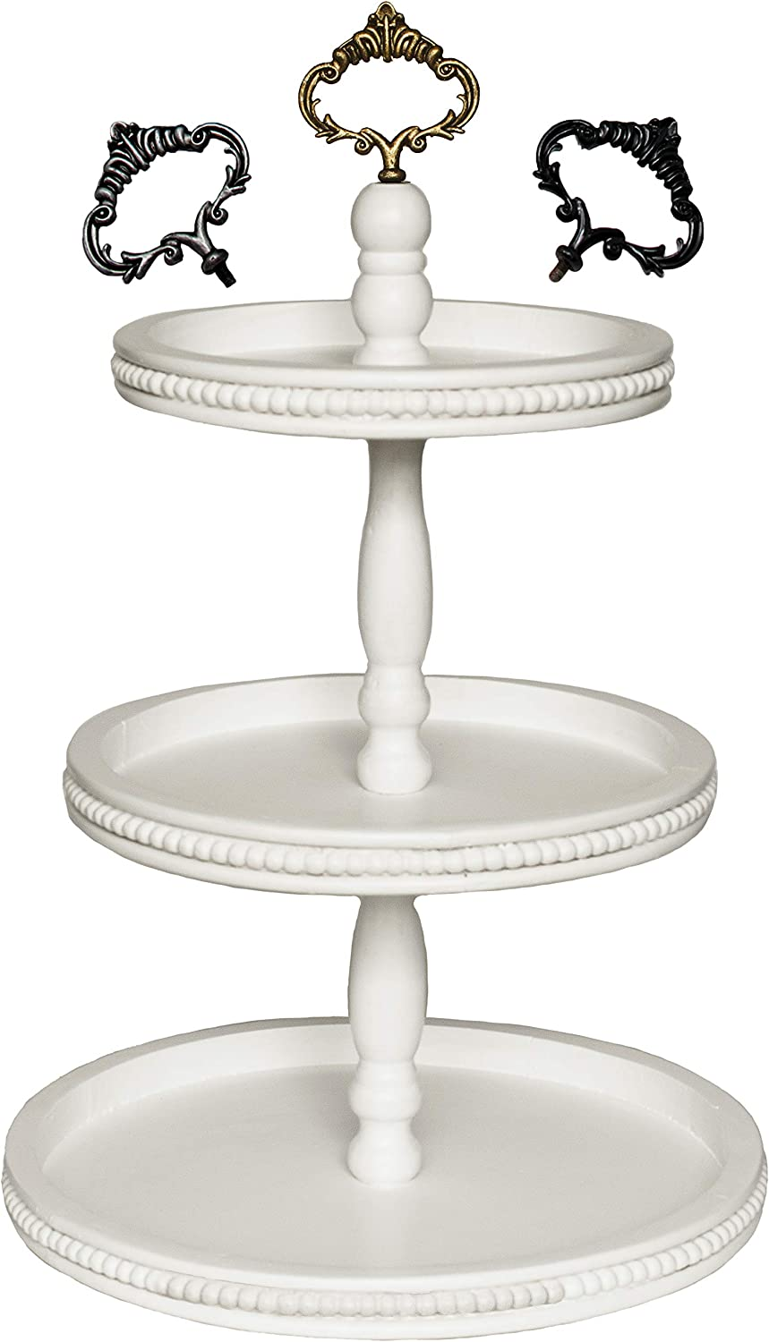Felt Creative Home Goods 3 Tiered Tray Wooden Serving Stand Large Beaded Tray for Home Decor Display Farmhouse Country Decoration Kitchen or Dining. Includes 3 Finial Custom Handles (White)