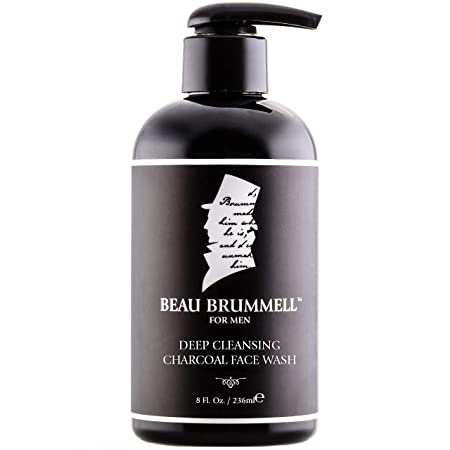 Men s Face Wash with Activated Charcoal by Beau Brummell Men s Facial Cleanser Natural Face Wash Eliminate Excessive Oil and Helps Prevent Acne Large 8 oz Size w Perfect Pour Pump