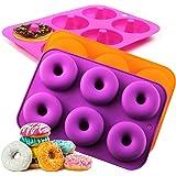 Silicone Donut Baking Pan, Non-Stick Donut Mold, Dishwasher, Oven, Microwave, Freezer Safe, Bake Full Size Perfect…