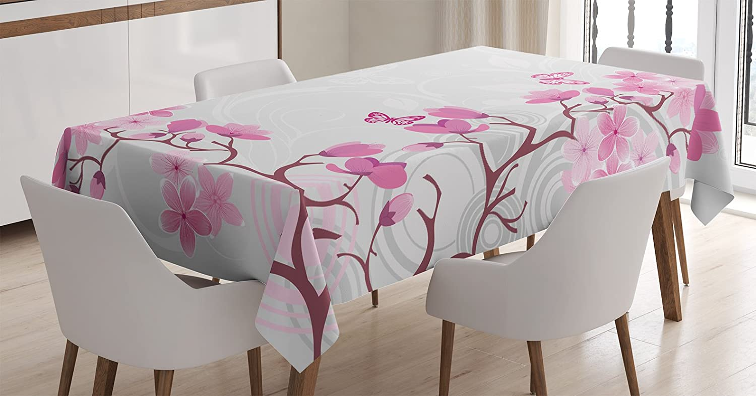Ambesonne Japanese Decor Tablecloth, Pink Blossoms with Butterflies Inspiration Growth Flourish Nature Theme Japanese Cherry Tree, Rectangular Table Cover for Dining Room Kitchen, 60x84 Inches, Pink