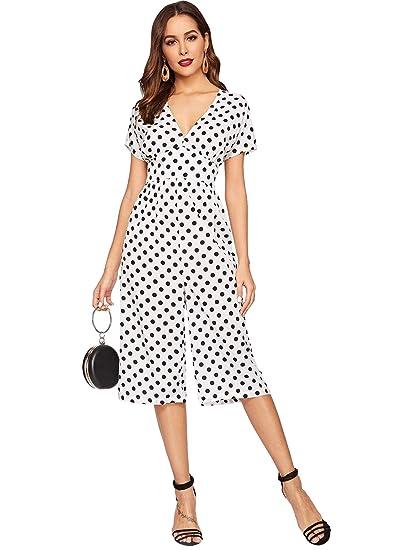 314949097098 Amazon.com  Romwe Women s V Neck Polka-Dot Short Sleeve Wide Leg Jumpsuit  White  Clothing