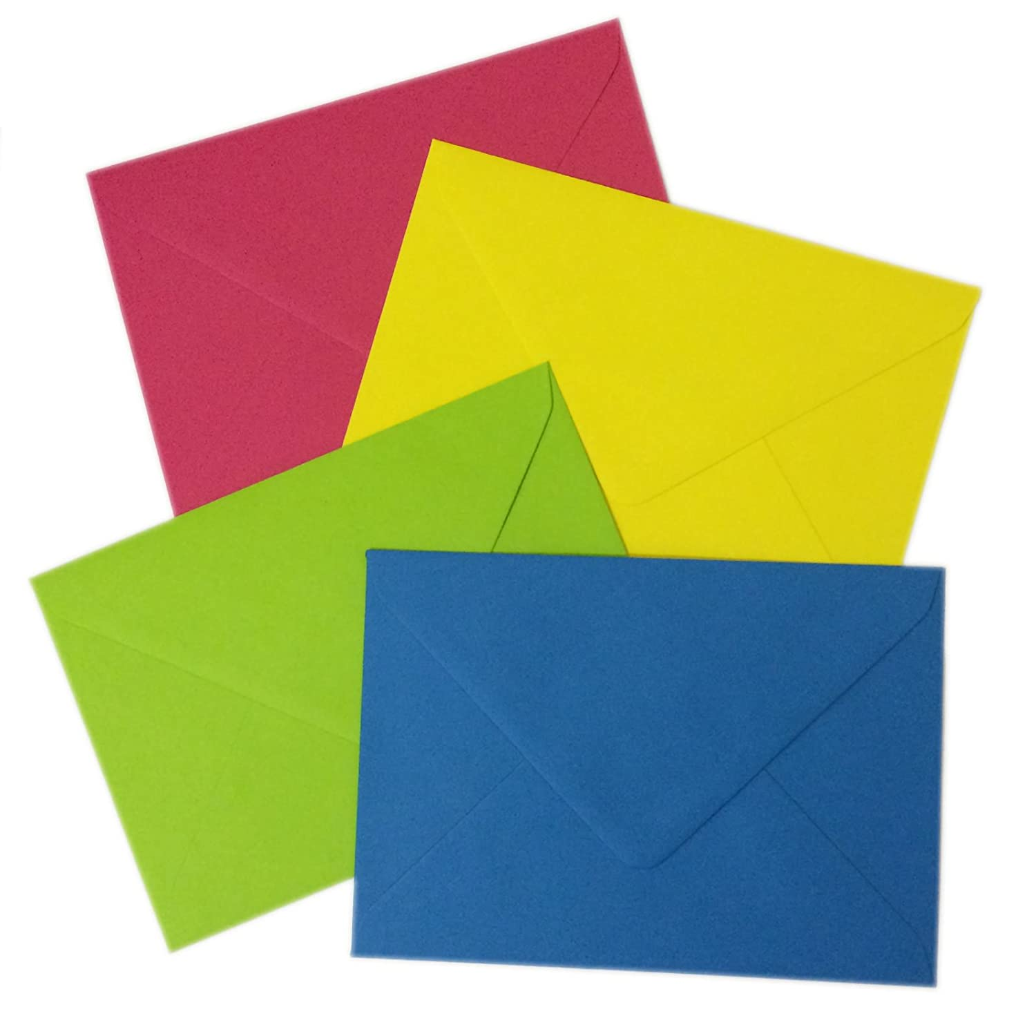 20 C6 Bright Mixed Coloured Envelopes - Packed by the CandyRushTM Charity - Blue, Yellow, Green, Pink (114x162mm approx 4x6) For Greetings Cards Crafts & Party Invitations Acceptable Enterprises
