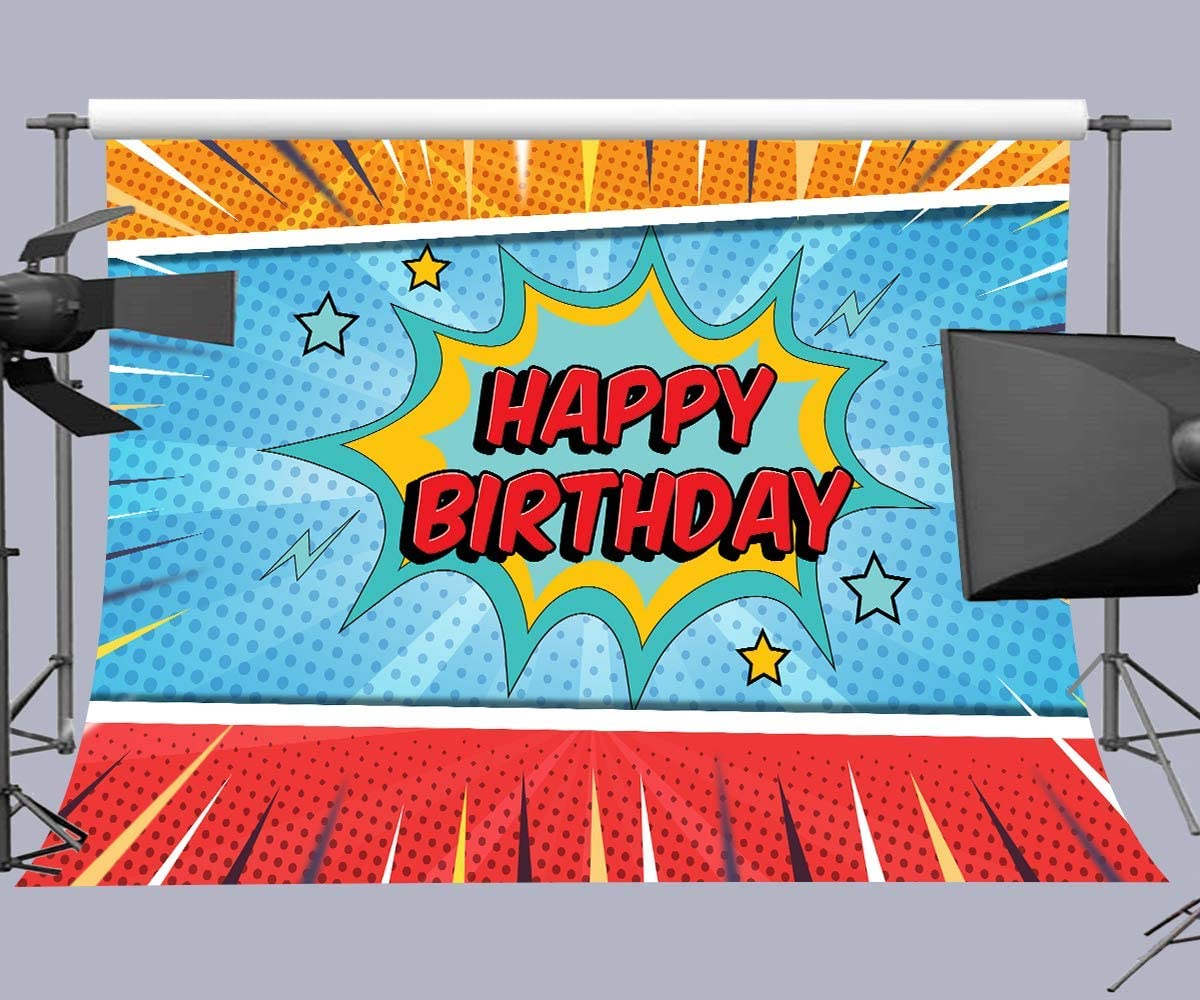 10x8ft Happy Birthday Backdrops for Photography Photo Background Props DSFU027