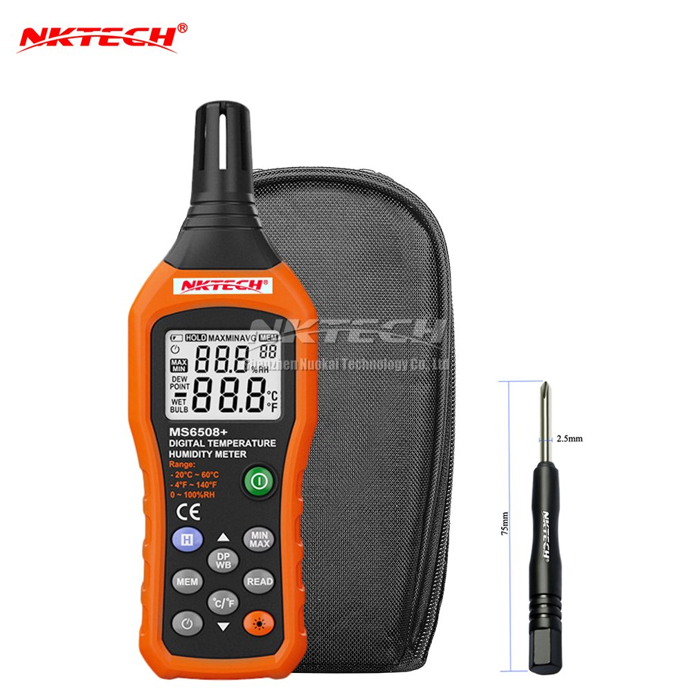 NKTECH MS6508+ Digital Temperature Humidity Meter Thermometer Hygrometer LCD Backlit Gauge Indicator Electronic Weather Station Barometer Dew Point Wet Bulb Ambient Temperature
