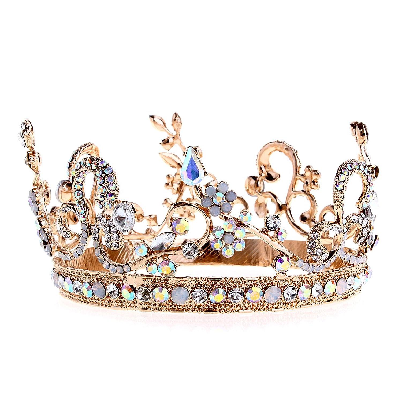 Crazy Genie Bridal Crystal Tiara Crowns Princess Queen Pageant Prom Rhinestone Headband Wedding Hair Accessory (Colorful Rhinestones) at Amazon Women's Clothing store