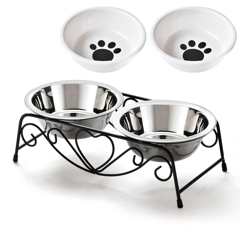 SuperSunny ペットボウルスタンドセット ステンレス製 えさ入れ ごはん皿 お水入れ 猫 犬 product image