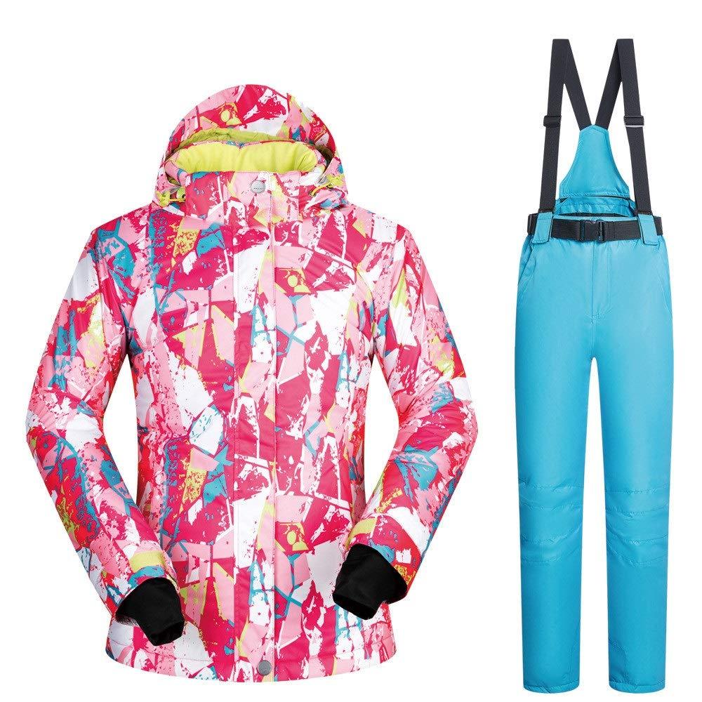 AUMING Skianzug Skijacke Frauen Bunte gedruckte Ski Jacke Hosen Ski Jacke hoch Winddicht wasserdicht Schneeanzug (Farbe : Light Blue Pants, Größe : L)