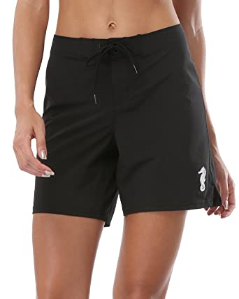 137b5cbae9 ALove Women Stretch Board Shorts Long Swim Shorts Trunks Boyleg Swim Bottom  Medium Black