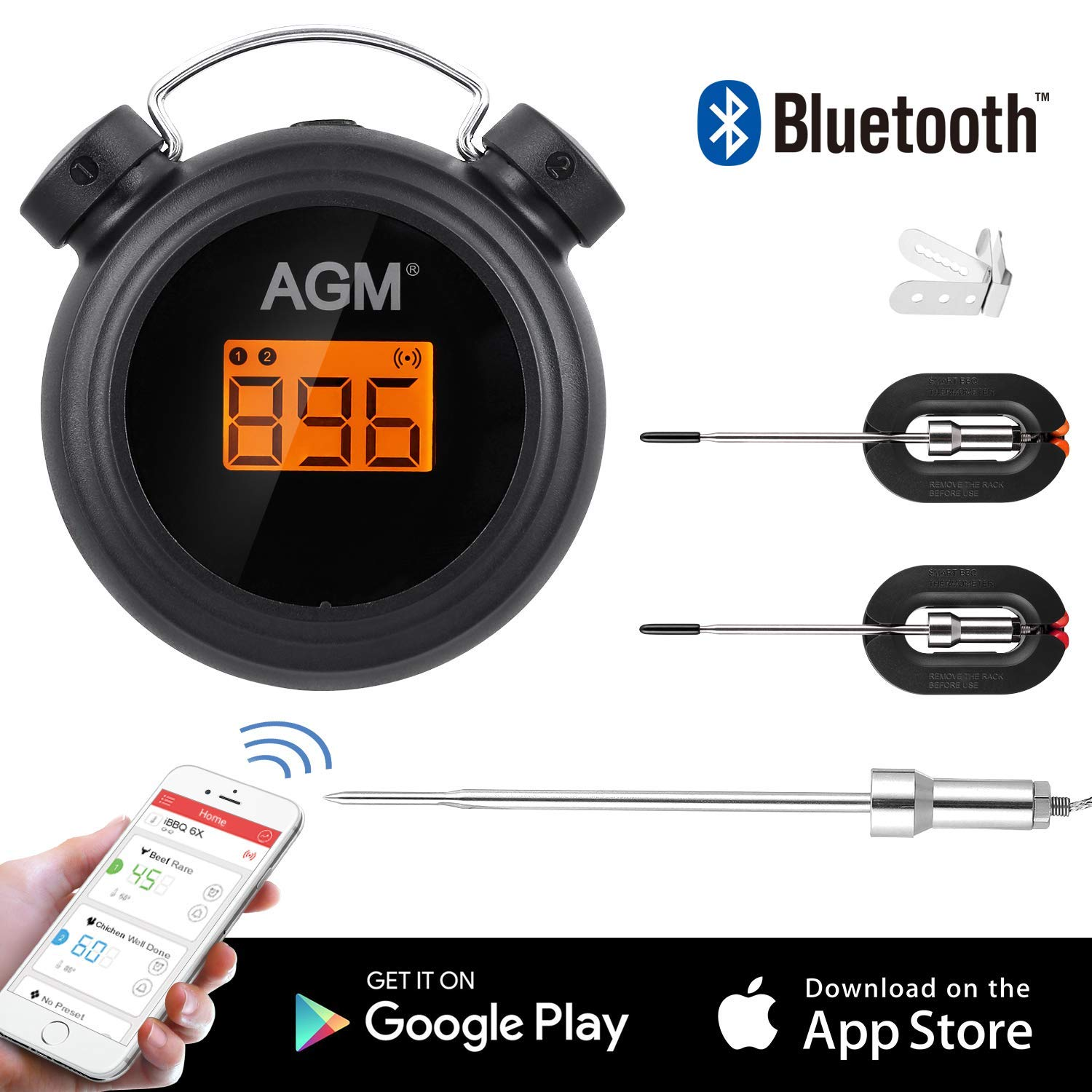 AGM Meat Thermometer Baking Kitchen BBQ Professional Wireless Bluetooth Cooking Thermometer with 2 LCD Probes Screen Temperature Timer Alarm for Barbecue Oven black 2