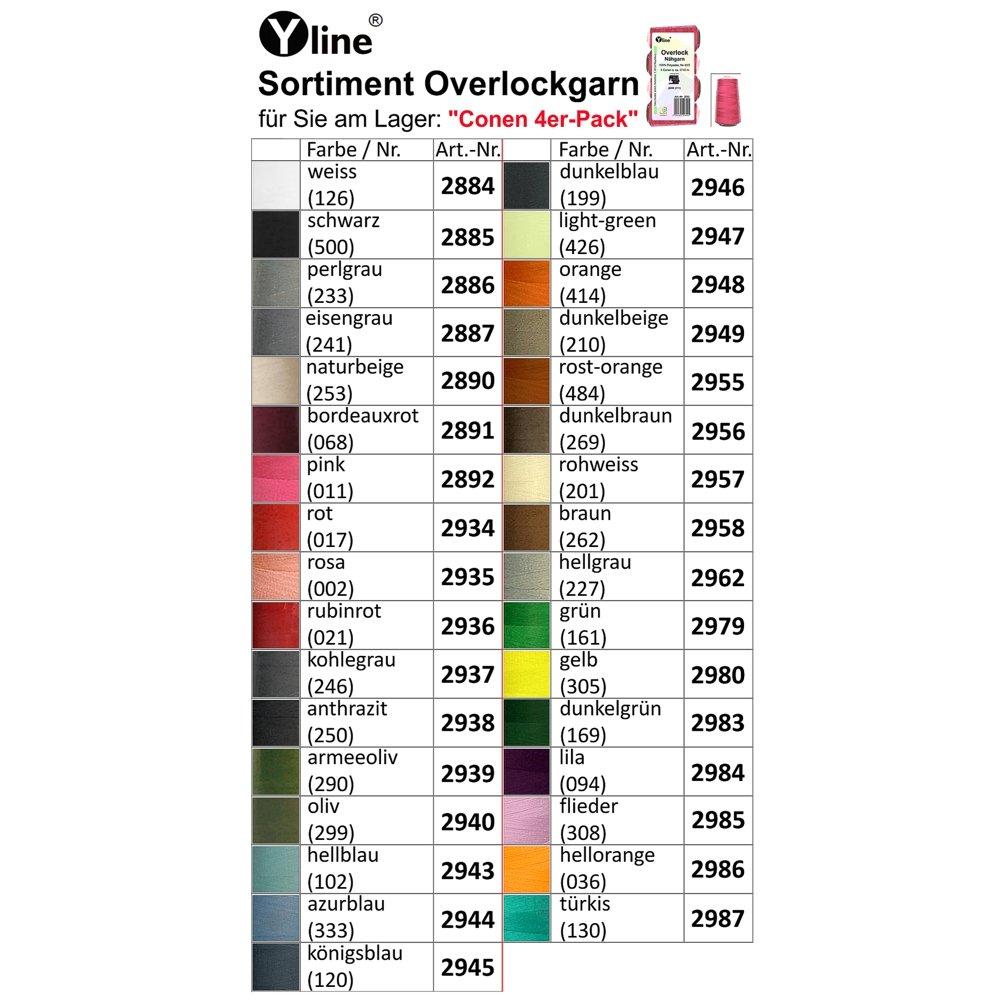 hilo 2743/M A /Hilo,/ Ne 40//2 m/áquinas de coser hilo 4/pieza Bobinas Overlock/ 2943/ / 100/% poli/éster /Azul claro