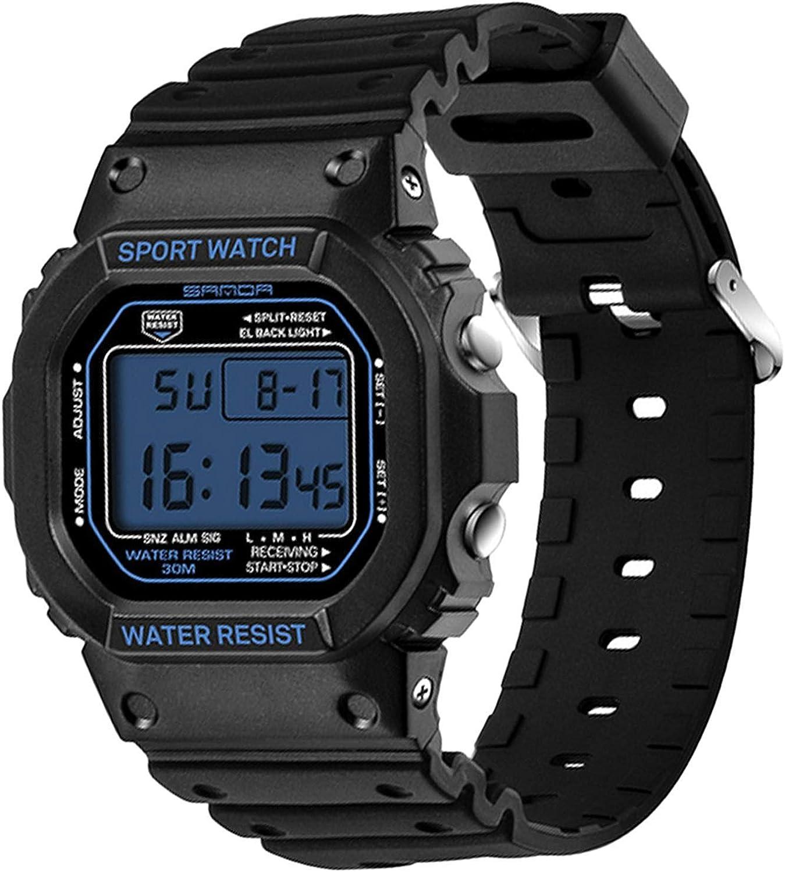 Sanda - Reloj digital deportivo para hombre, resistente al agua, con luz LCD, color azul