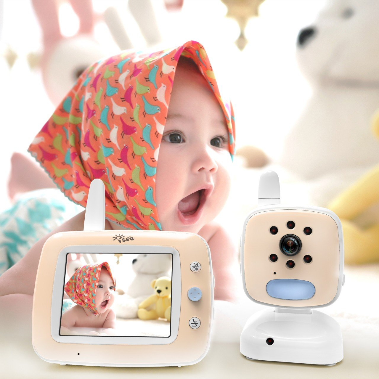 Video Baby Monitor with Camera, Long Range 3.5 Color Screen Wireless Baby Monitor with Infrared Night Vision Cameras, High Capacity Battery, Temperature Monitoring, Digital Two Way Audio Lullabies
