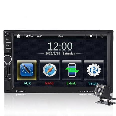 "Qiilu 7"" Reproductor MP5 de coche Pantalla Táctil HD Bluetooth GPS Radio FM AUX con"