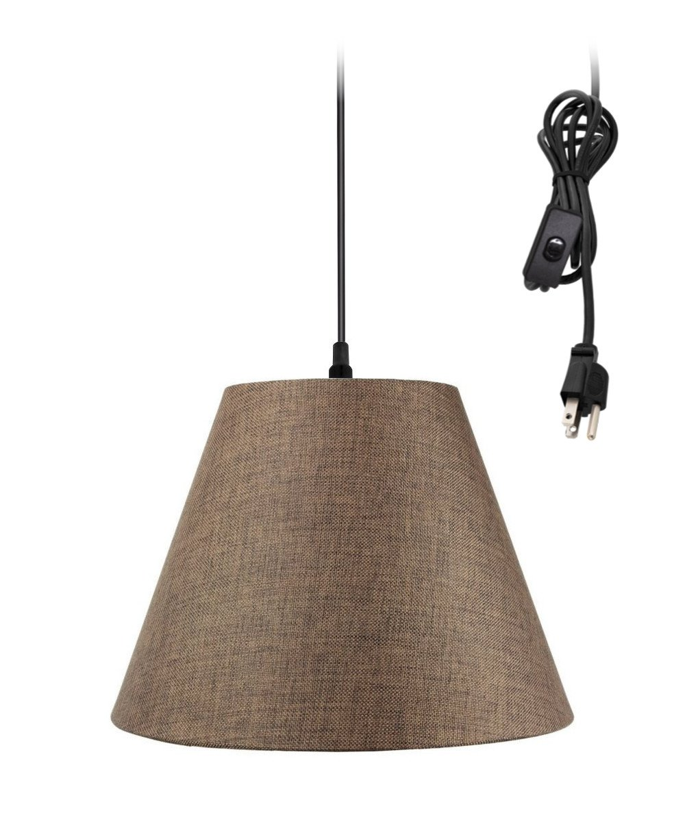 Plug-In Pendant Light By Home Concept - Hanging Swag Lamp Chocolate Burlap - Perfect for apartments, dorms, no wiring needed (Brown, Black One-light)