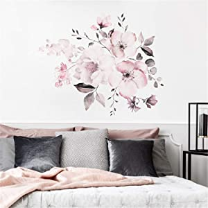 Taeamjone Pink Flower Romantic Floral Wall Decor 3D Wall Sticker Home Art Decor for Girls Bedroom Office Bathroom Living Room
