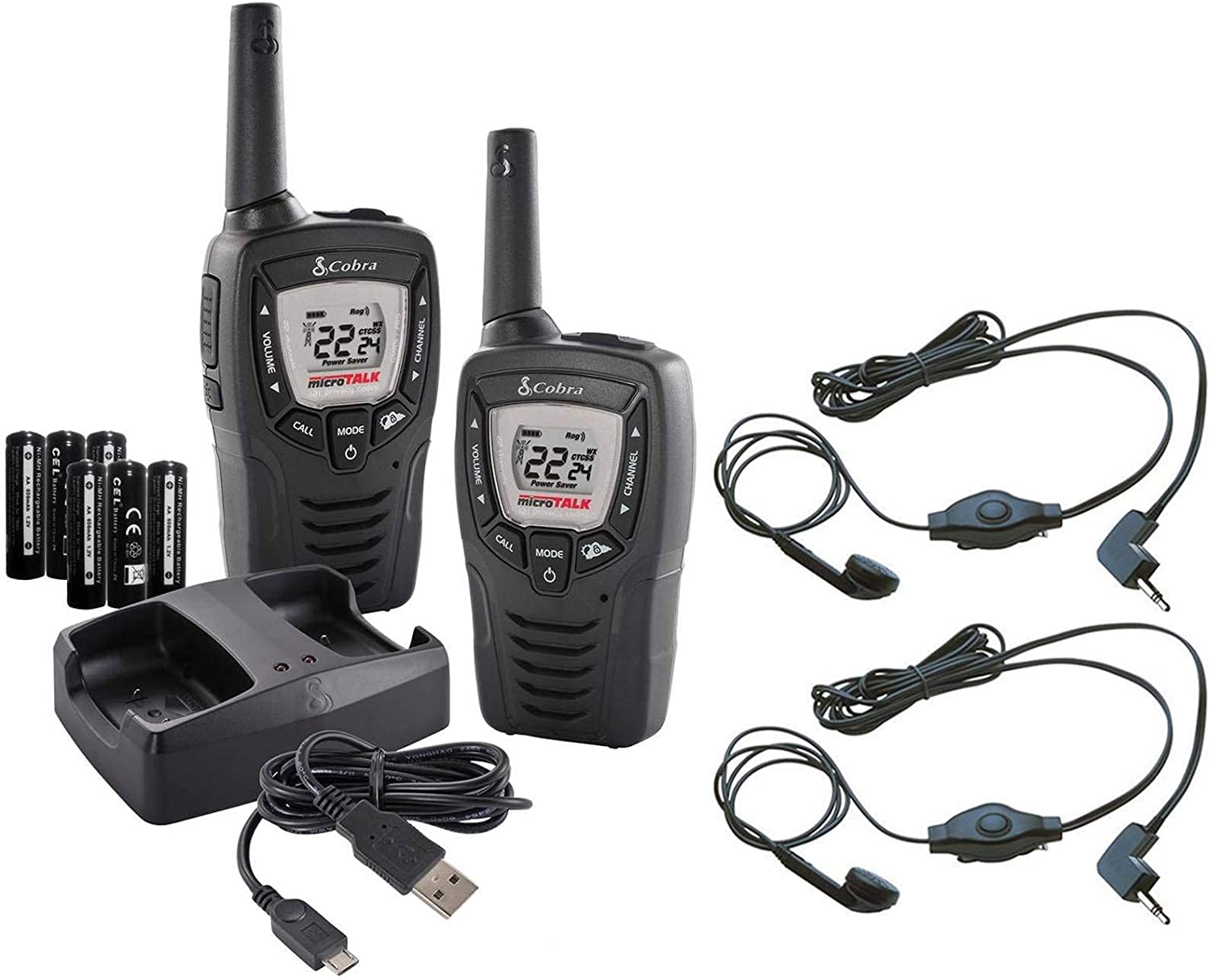 Cobra 23 Mile 22 Channel Walkie Talkie VOX NOAA Receiver Radios CX335 4 Pairs